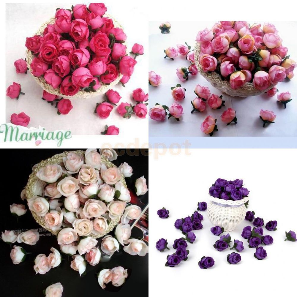 200pcs 4 Colors 3cm Roses Artificial Silk Flower Heads Wedding Party