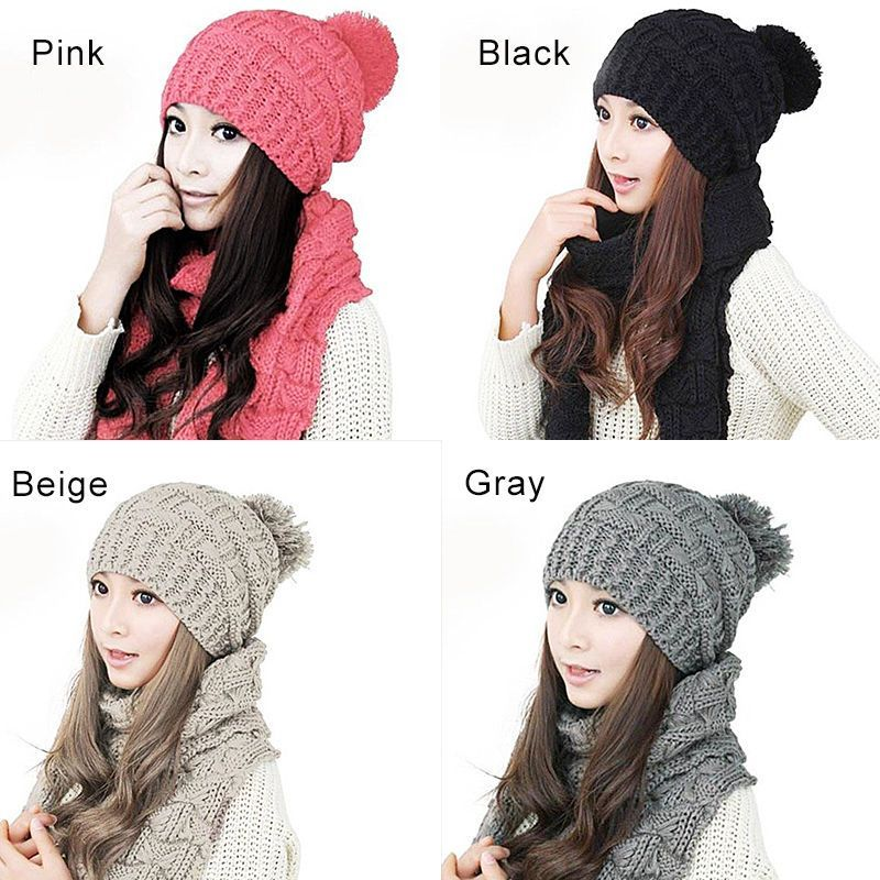 Fashion Women Warm Knit Hat Ski Crochet Matching Scarf And Hat Set ...
