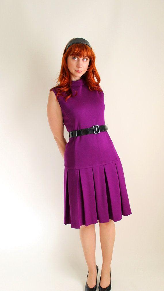 1960s Purple Wool 20s Style Dress Fler Mad Men Fashion Office Day Fall Via Etsy