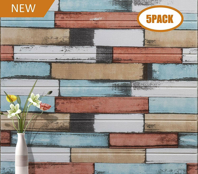 5x 3D Wallpaper Peel Stick Wall Panels Wood Wallpaper