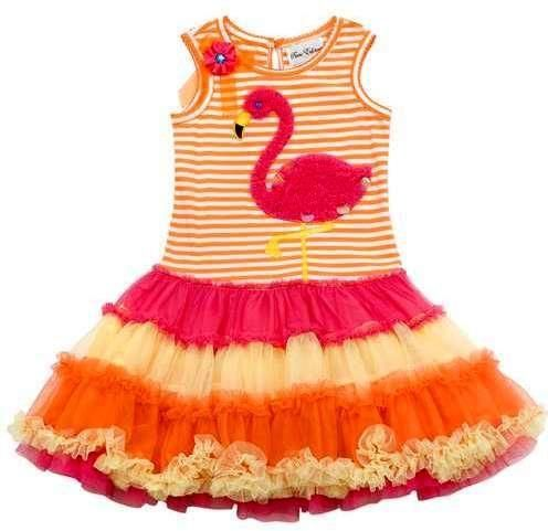 32b8901e65 New-Boutique-Girl-Clothes-Rare -Editions-Pink-Orange-Tropical-Flamingo-Dress-sz-6