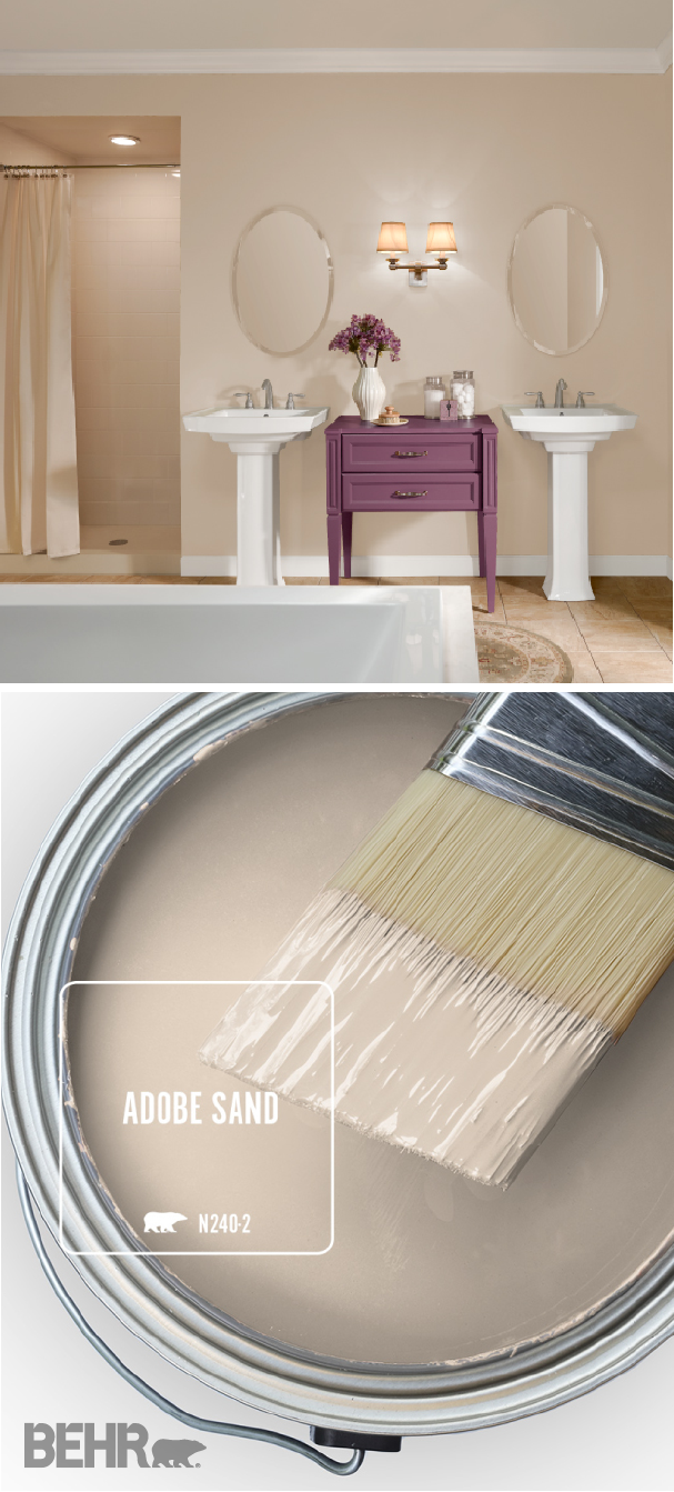 The Behr Paint Color Of The Month Is Adobe Sand A Light Shade Of Beige This Neutral Hue Bathroom Paint Colors Behr Room Colors Paint Colors For Living Room