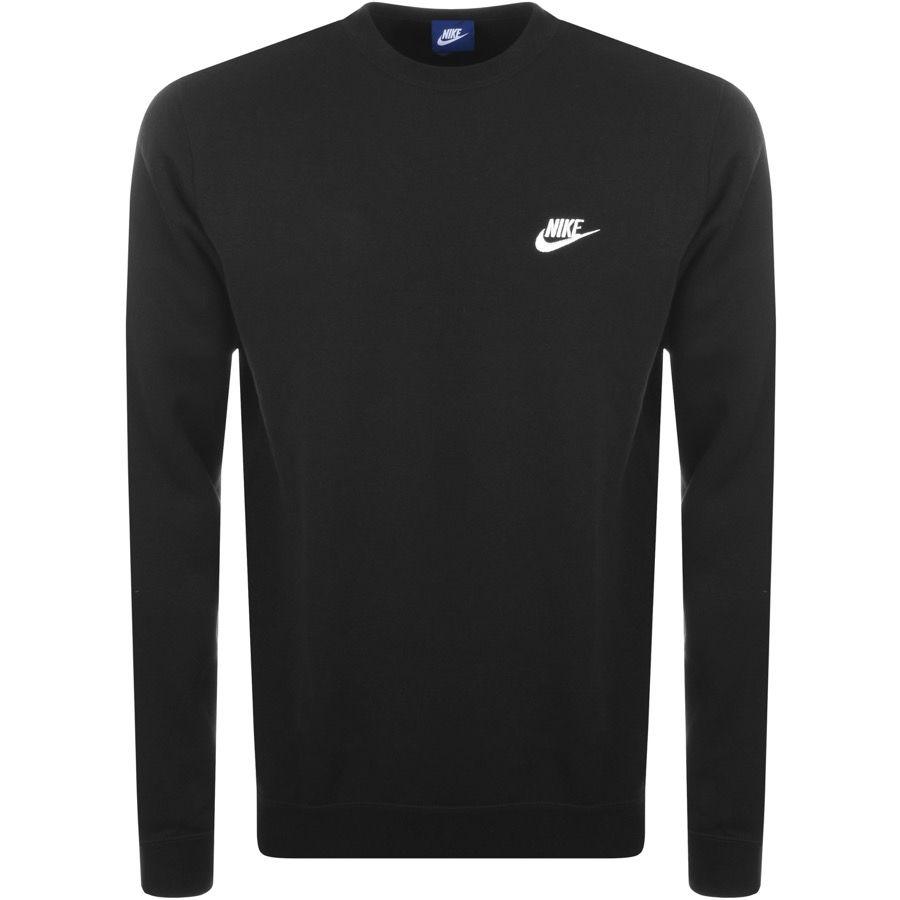 Nike Crew Neck Club Sweatshirt Black Nike Cloth Long Sleeve Tshirt Men Mens Sportswear Club Sweatshirts [ 900 x 900 Pixel ]