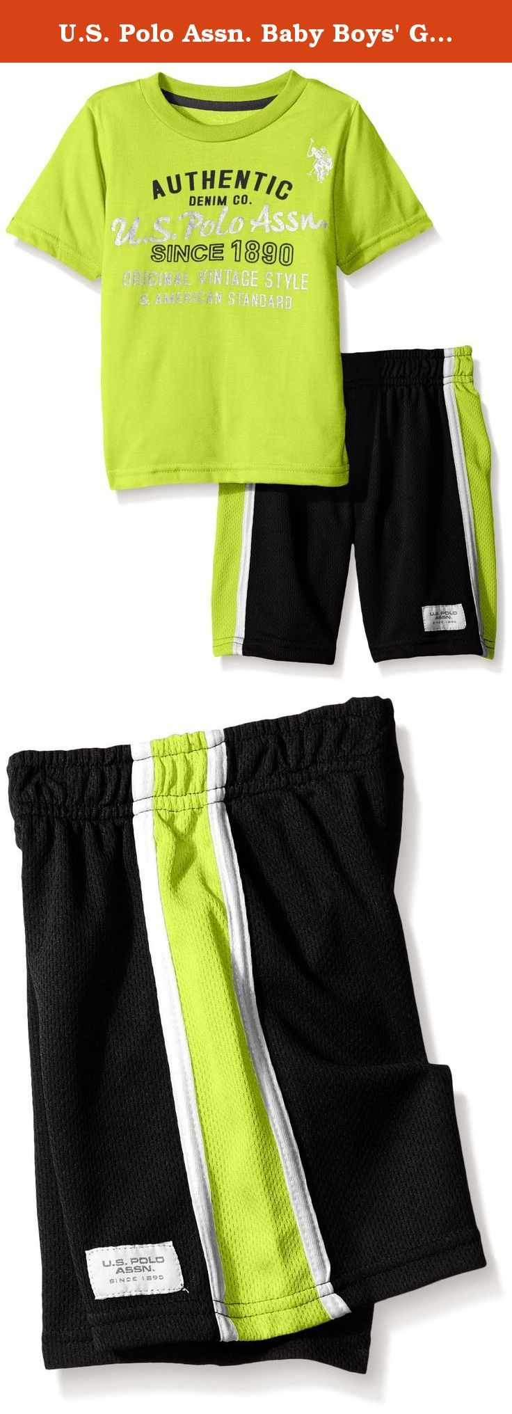 U.S. Polo Assn. Baby Boys' Graphic T-Shirt and Mesh Sport Short, Lime Lorry, 24 Months. Graphic logo t-shirt and closed hole mesh athletic short.