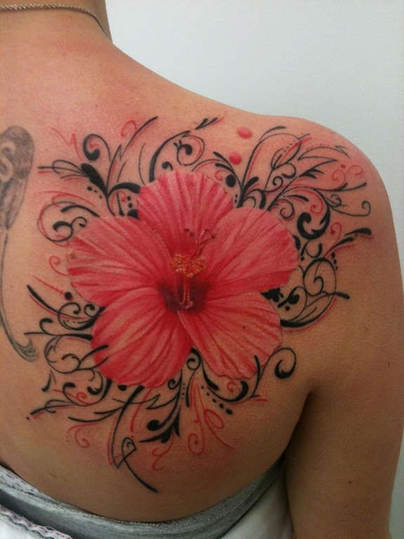 Side Hawaiian Flower Tattoos: Black & Grey And Colorful Hibiscus Tattoos (30) (With