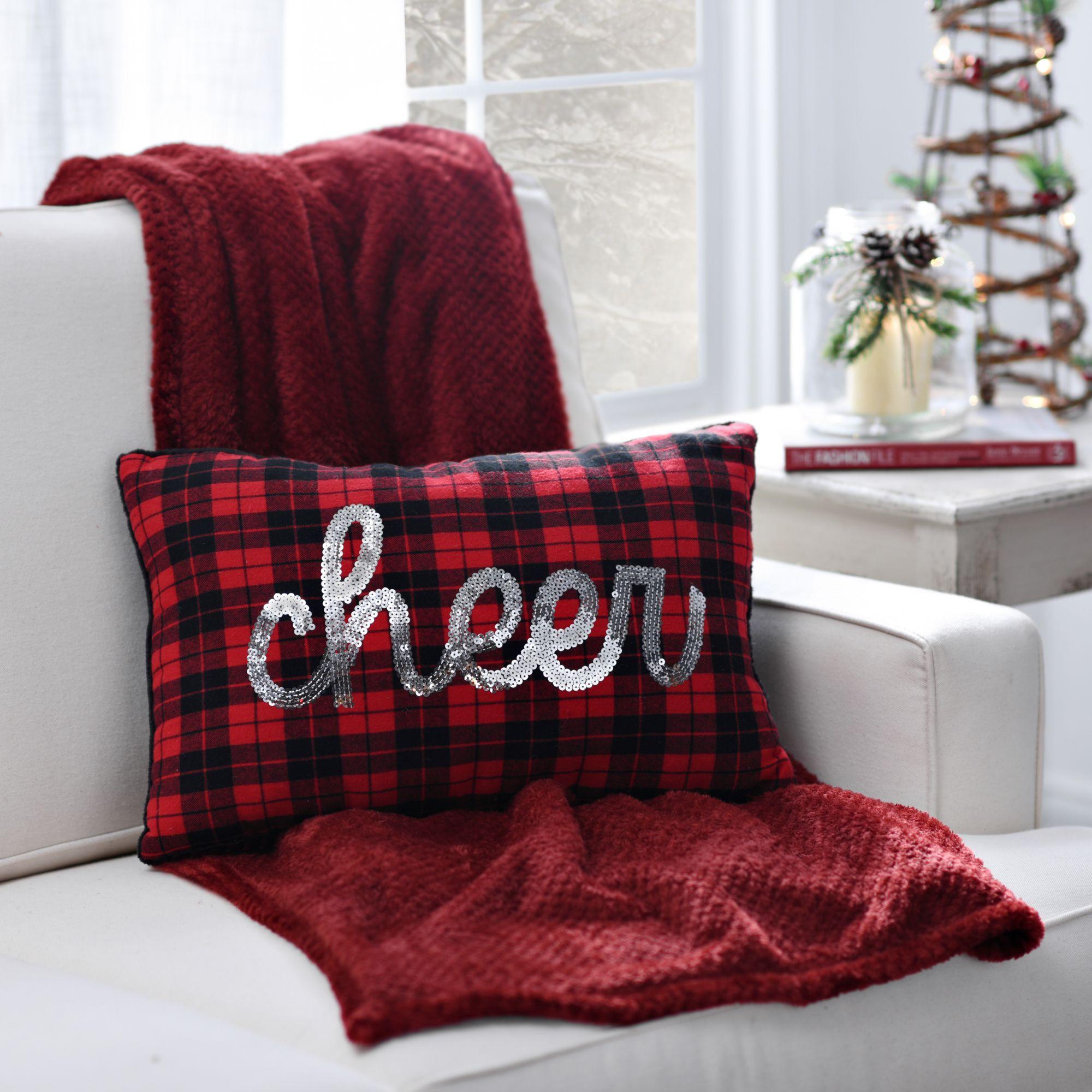 Plaid sequin cheer pillow cheer plaid and pillows