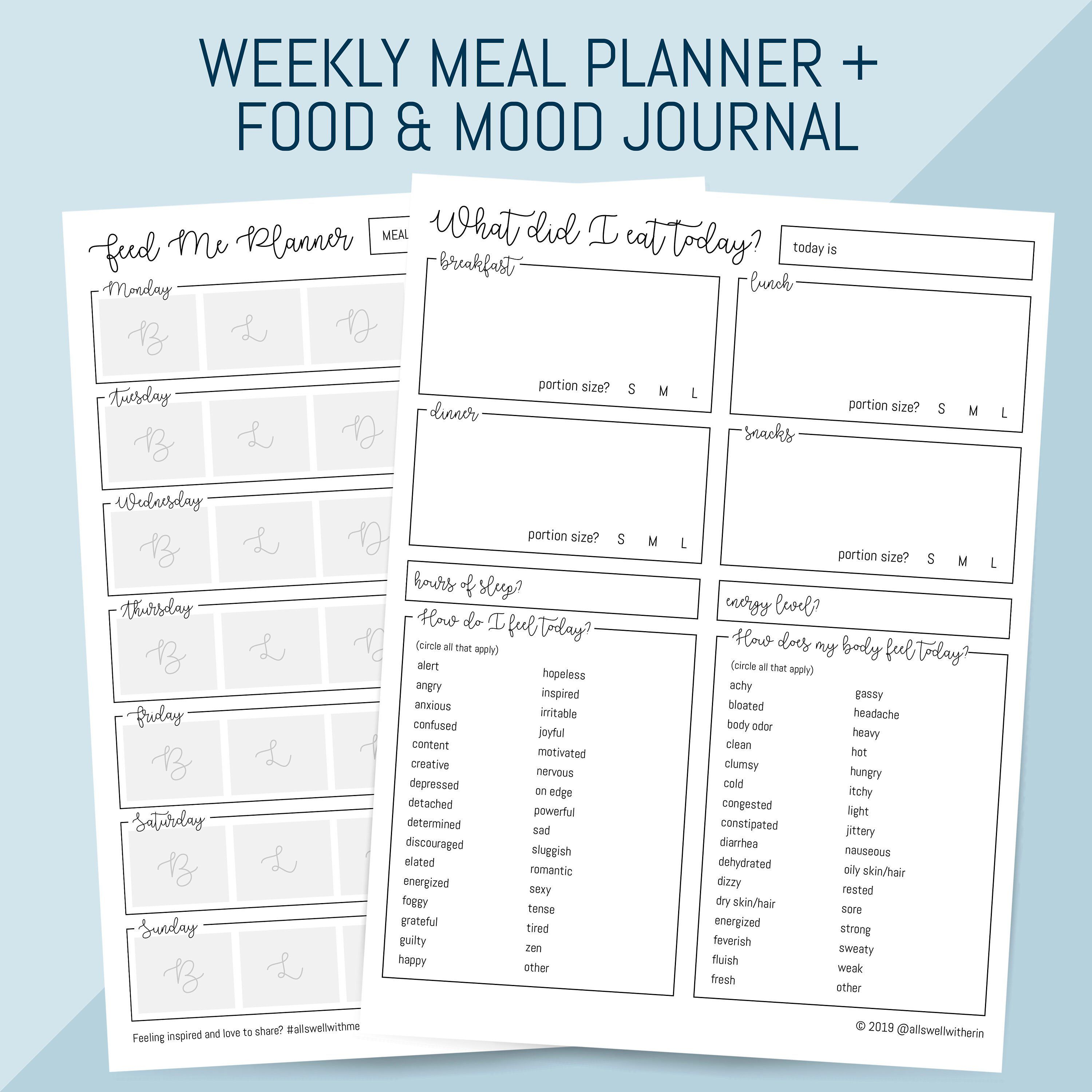 Printable Meal Planner Plus Food Mood Journal Printable