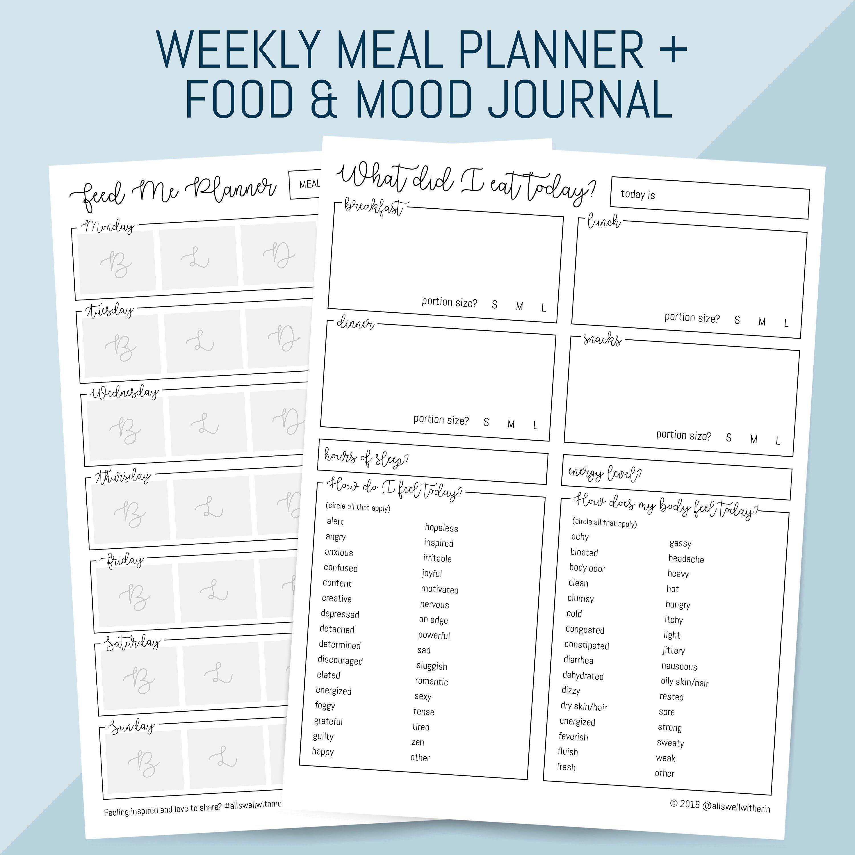 Printable Meal Planner Plus Food Mood Journal Printable