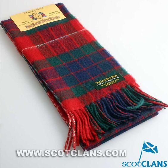 Lambswool Scottish Clan Scarf Fraser Red Modern Tartan