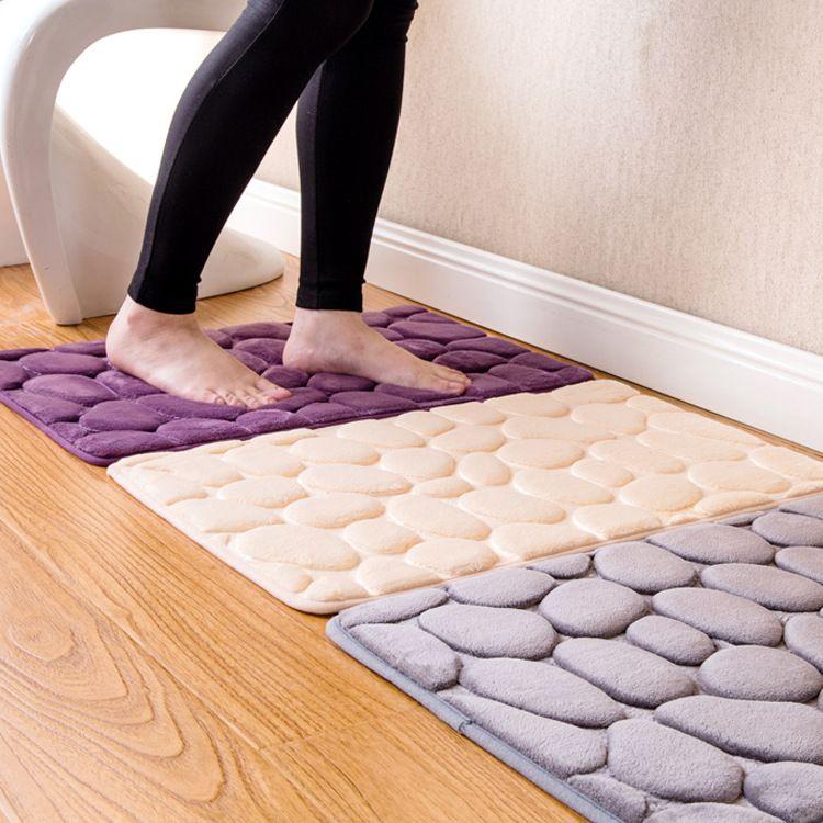 3d Bath Rug Pebbles Natural Sbr Rubber Bath Mat Bottom Space