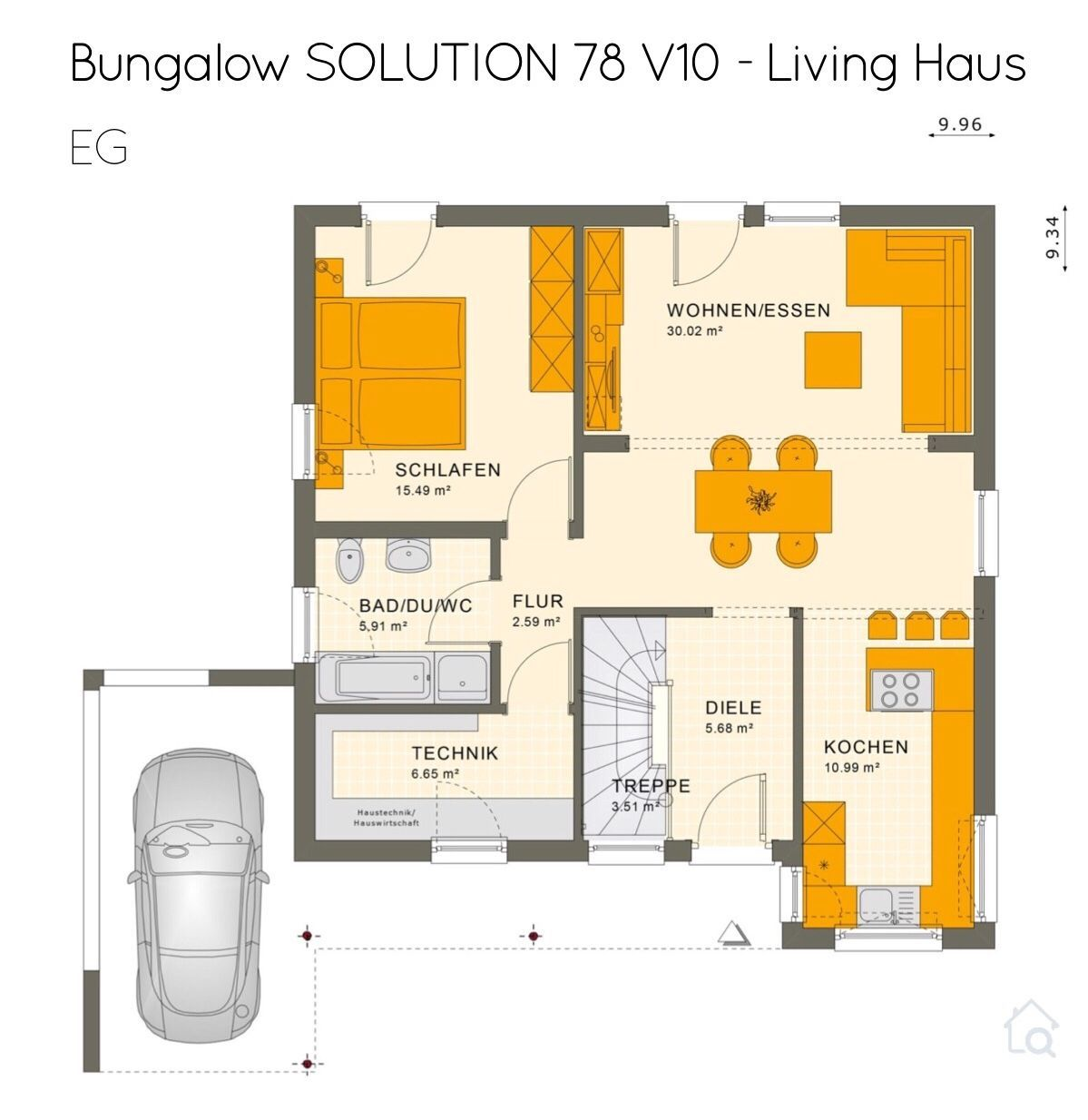 Grundriss Bungalow Haus Quadratisch Mit Flachdach Architektur Keller 2 Zimmer Ca 80 Qm Mit Integriertem Bungalow Grundriss Mehrfamilienhaus Living Haus