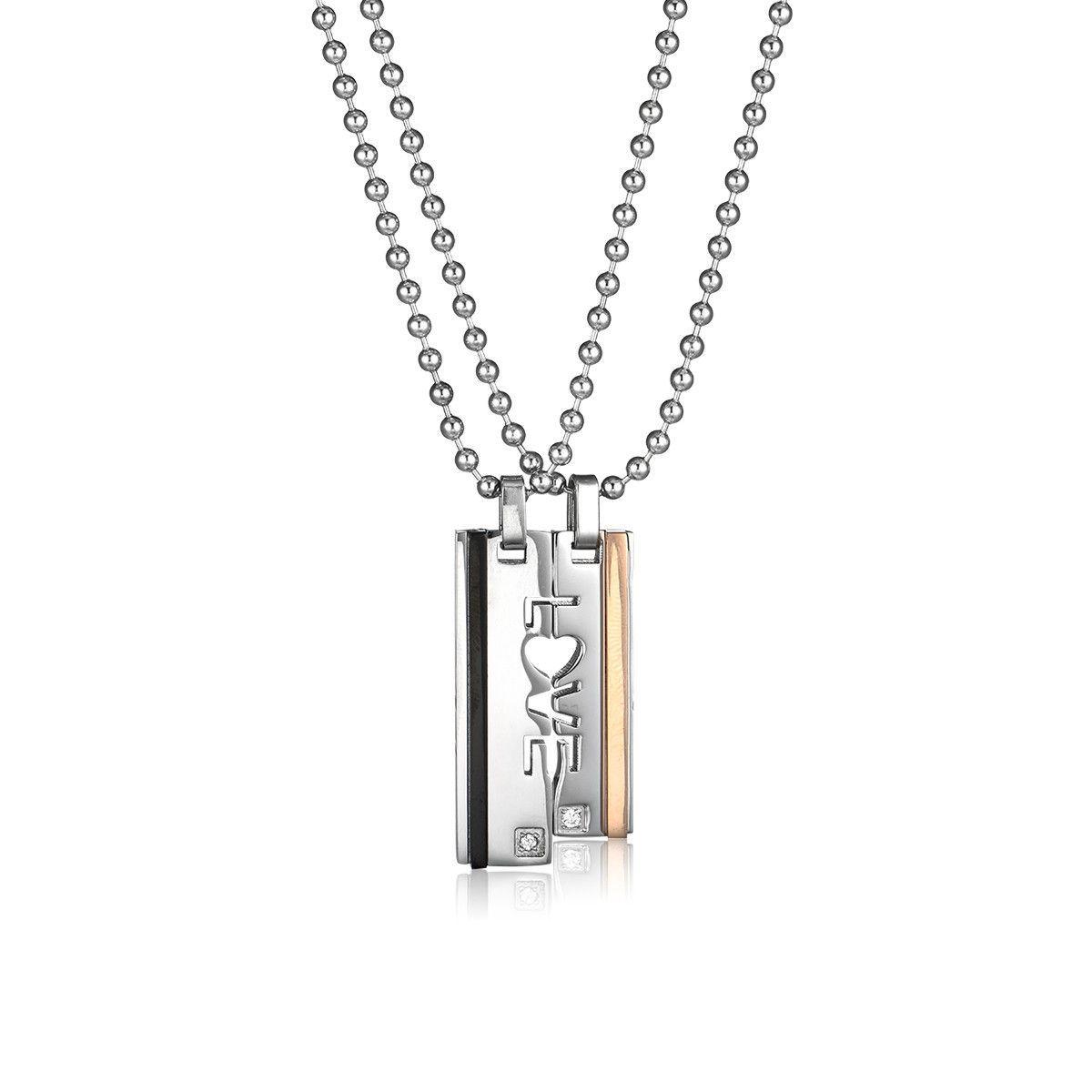 b65a3d5b75 Letter LOVE Titanium Steel Couple Necklaces Couple Necklaces, Dog Tag  Necklace, Tags, Steel
