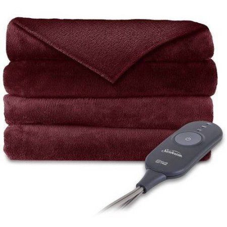 Electric Throw Blanket Walmart Gorgeous Sunbeam Electric Heated Plush Throw Red  Plush Walmart And Products
