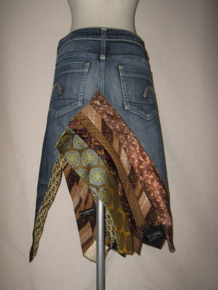 Tied up Eco Couture Upcycled jean skirt with vitnage by RedHotDan, $79.99.....I wish I could make this.