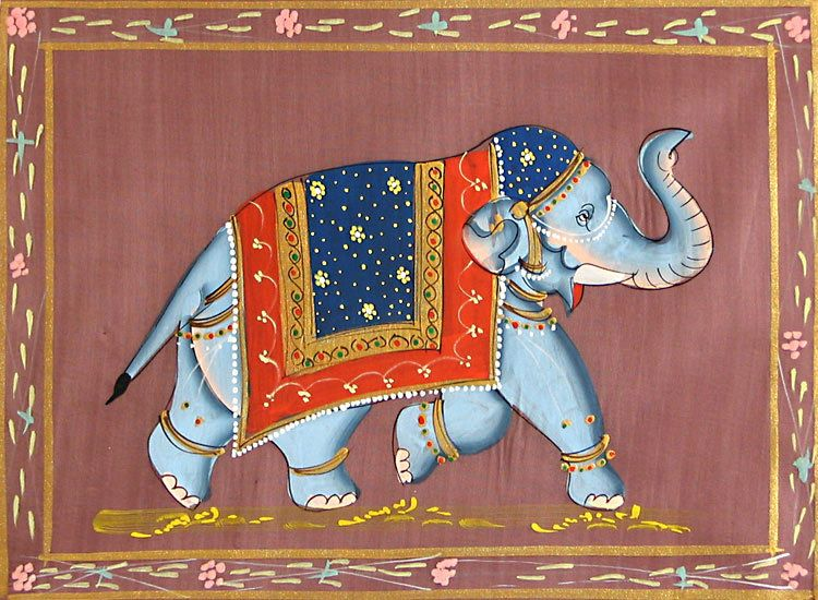 Decorated Elephant - Miniature Painting on Silk Cloth