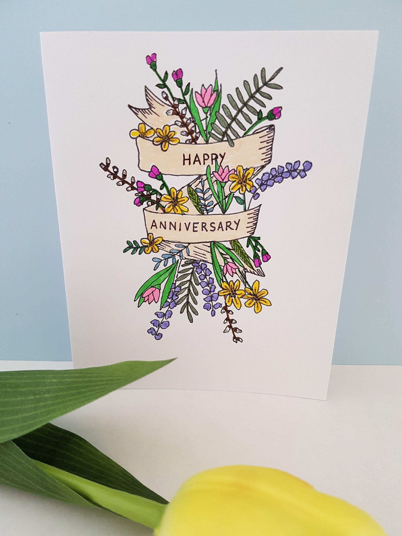 Happy Anniversary Greeting Card Handmade Anniversary Card