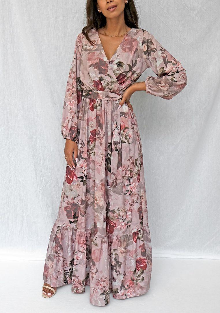 Kopertowa Sukienka Maxi Powder Flower Print In 2021 Dresses Fashion Outfits