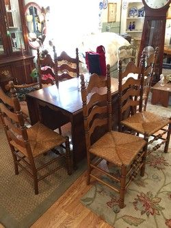 Stenciled Maple Drop Leaf Dining Table With 6 Ladder Back Rush Seat Chairs 5 Side 1 Arm And Insert Leafs Solid Wood 42W 28L 30H