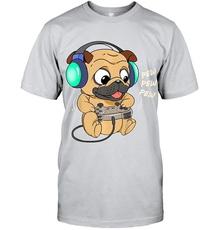 Kids Cute Gaming Pug Dog Video Game Computer Player