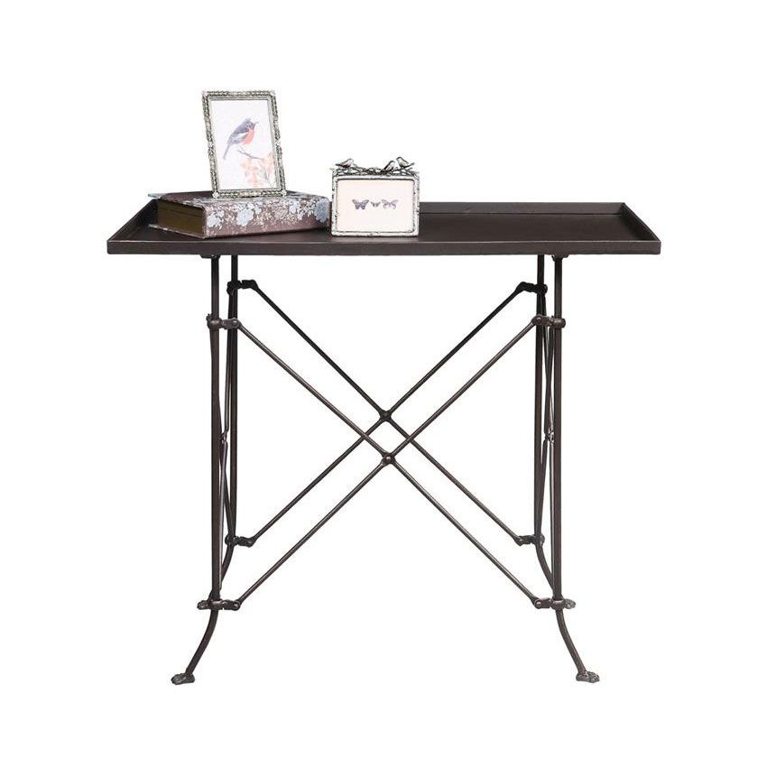 Inject some old-world industrial charm into your home with this metal accent table. Made entirely of metal with a bronze finish, this table will stand up to the test of time. We like the tabletop's sli...  Find the Old World Charm Accent Table, as seen in the Private Eye for Design Collection at http://dotandbo.com/collections/private-eye-for-design?utm_source=pinterest&utm_medium=organic&db_sku=90941