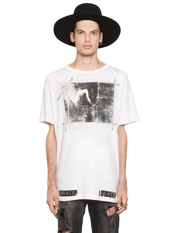 ホワイトコットン半袖Tシャツ OFF WHITE - CARAVAGGIO ANNUNCIATION JERSEY T-SHIRT - WHITE   OFF-WHITE C/O VIRGIL ABLOH オフ・ホワイト   メンズ - トップス - 半袖Tシャツ   WHITE   海外通販ならLASO(ラソ)