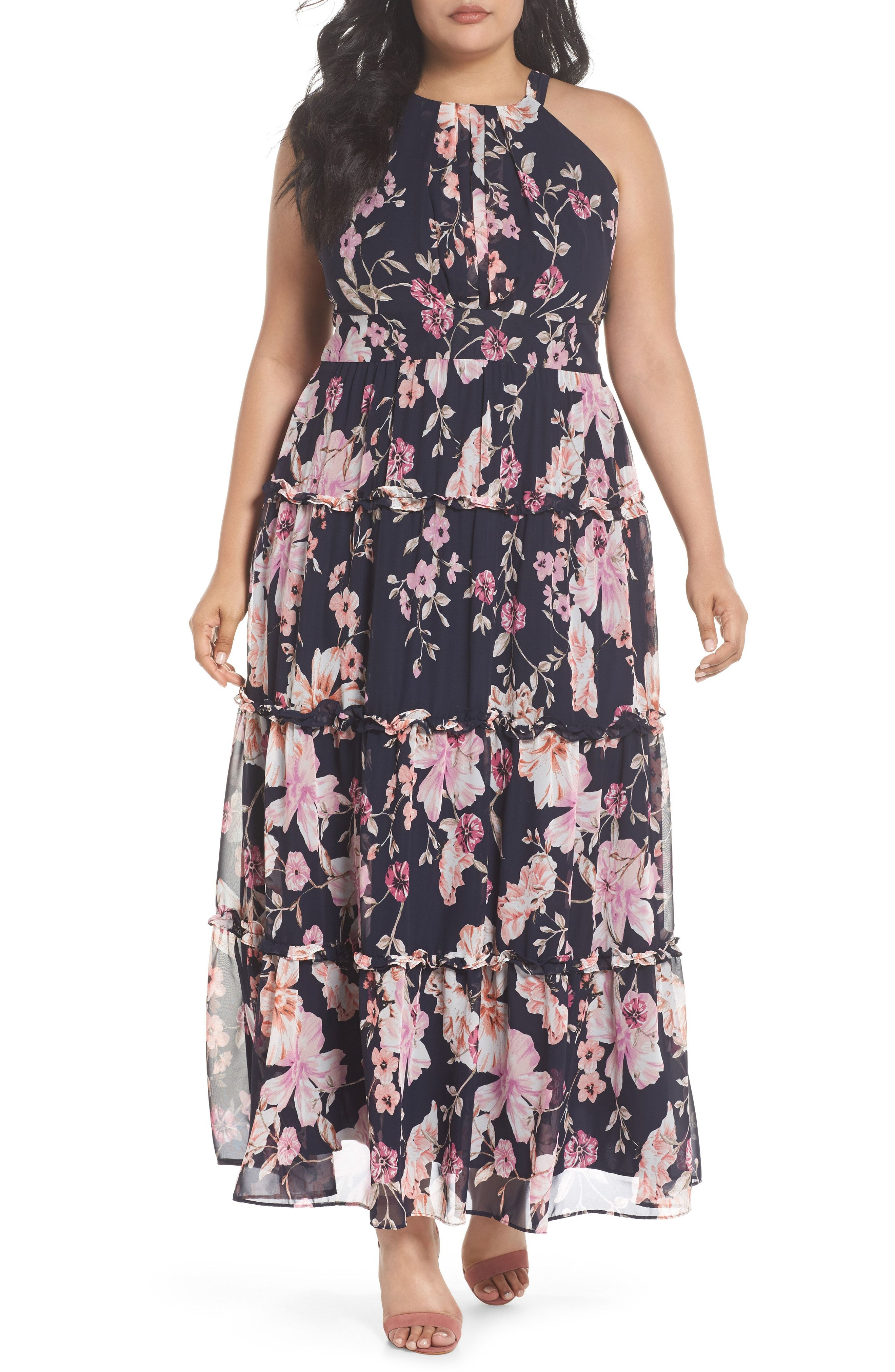 c5cd6dc4589 New Eliza J Floral Ruffle Trim Chiffon Halter Maxi Dress (Plus Size)  online.   178  findofferdresses offers on top store