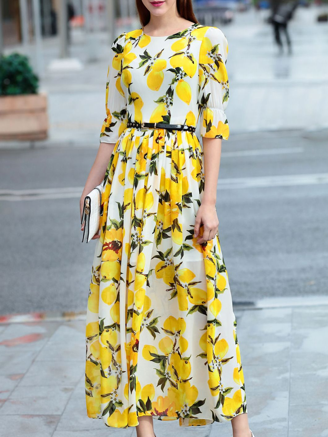 0051eaa365 Shop Yellow Lemon Print Belted Bell Sleeve Maxi Dress online. SheIn offers  Yellow Lemon Print Belted Bell Sleeve Maxi Dress & more to fit your  fashionable ...
