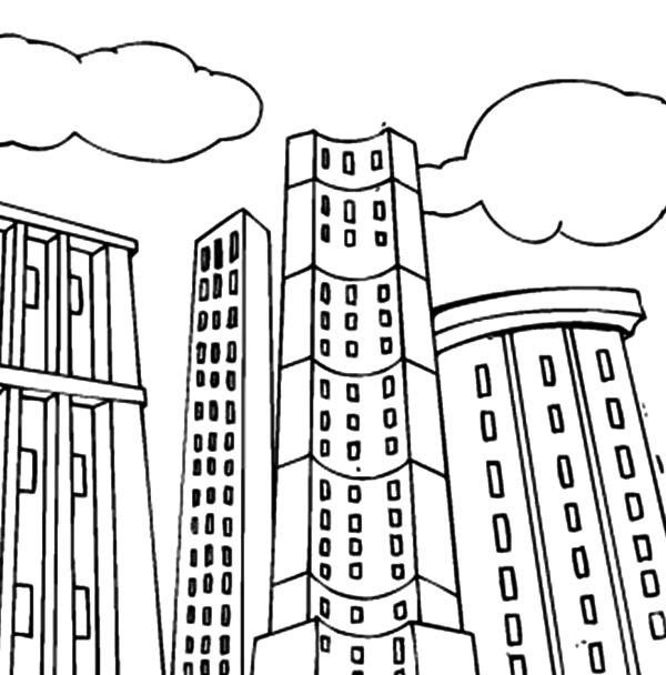 tall apartment building coloring pages - Apartment Building Coloring Pages