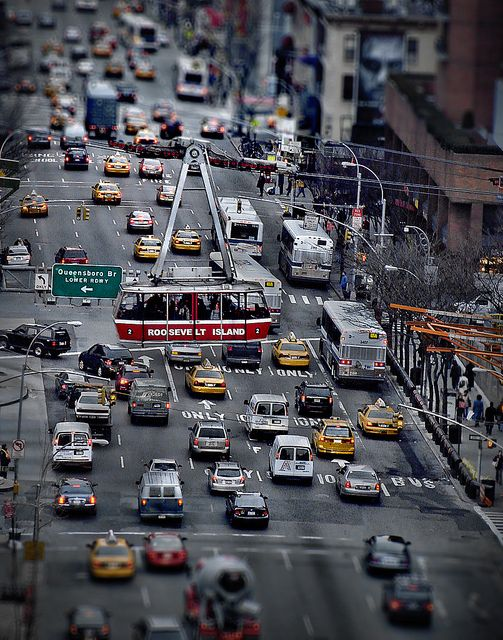 Old Tram Over 2nd Avenue and 59th Street With Manhattan ...