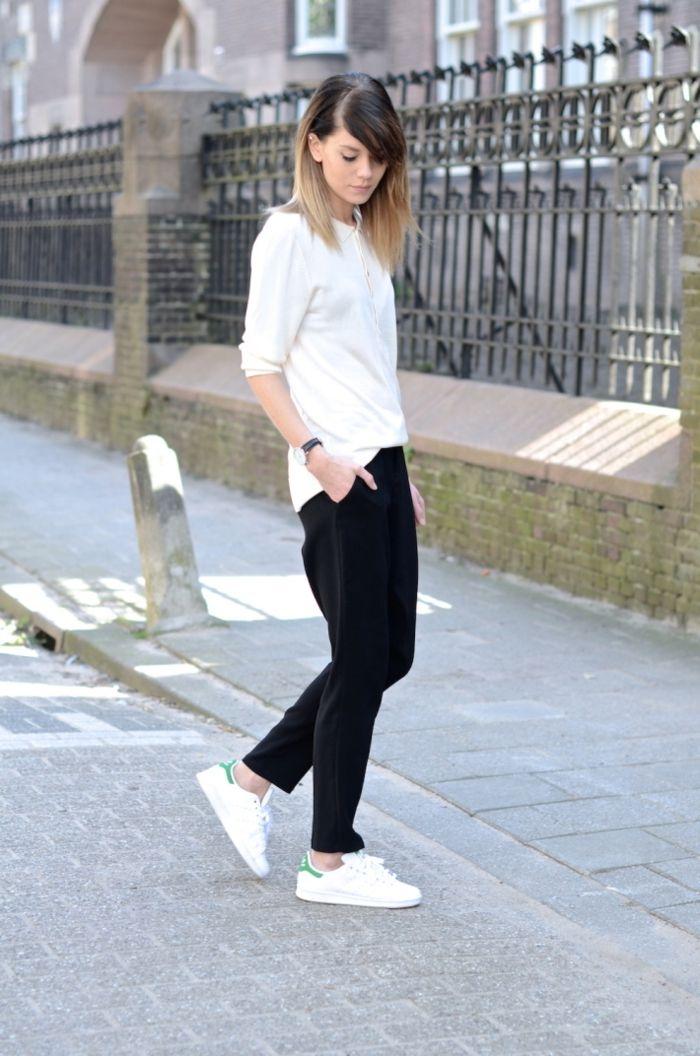 wholesale dealer cd79c b92dc basket femme habillée, pantalon noir, blouse blanche, cheveux raides, montre  noire