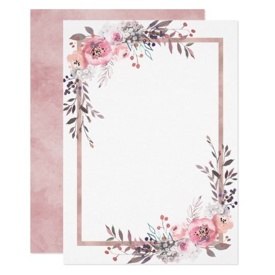 Photo of Blush & Rose Gold Framed Bridal Shower Invitation | Zazzle.c…
