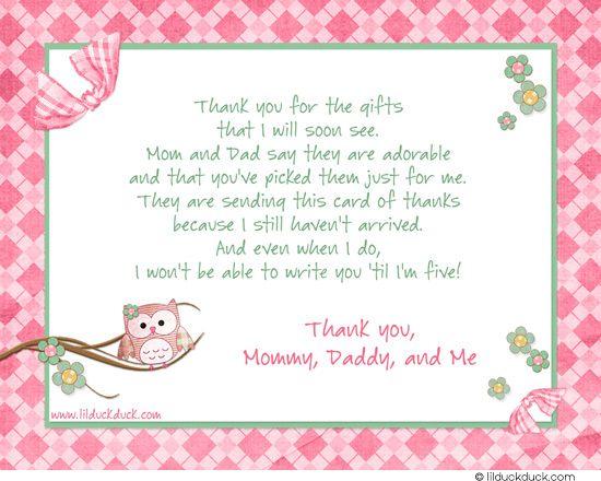 Hooty Stylish Pink Thank You Card