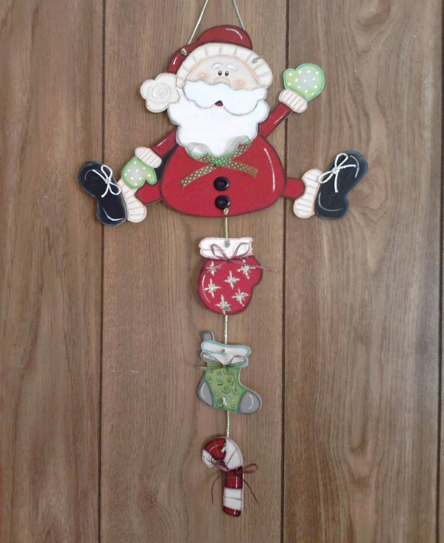 De Madera Feliz Navidad Santa y reno Regalo de placa de decoración del hogar