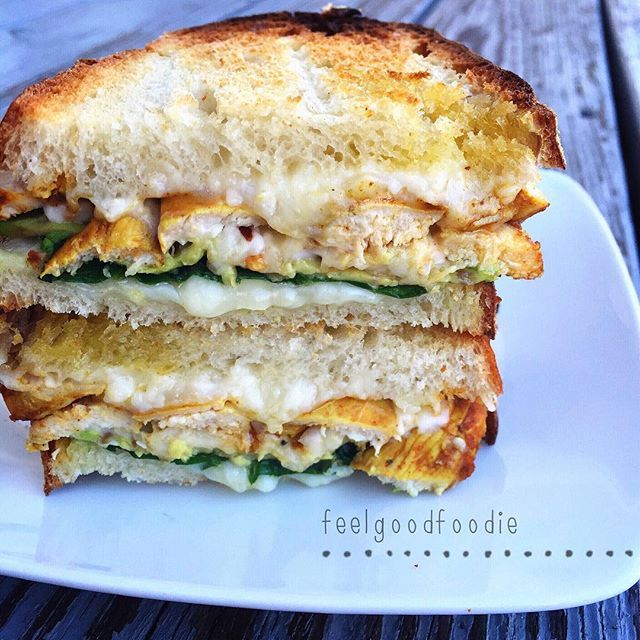 Grilled Chicken Avocado Sandwich 2 Slices Sourdough Bread 4oz Leftover Grilled Chicken Breast Sliced Shredded Asiago Provolone Cheese Fresh Baby
