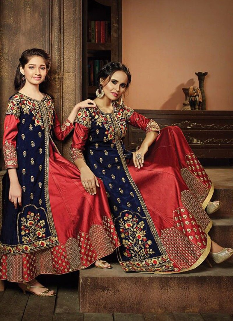 2649e72ff9 Mother Daughter Combo Lehenga With Embroidered Split Indowestern ...