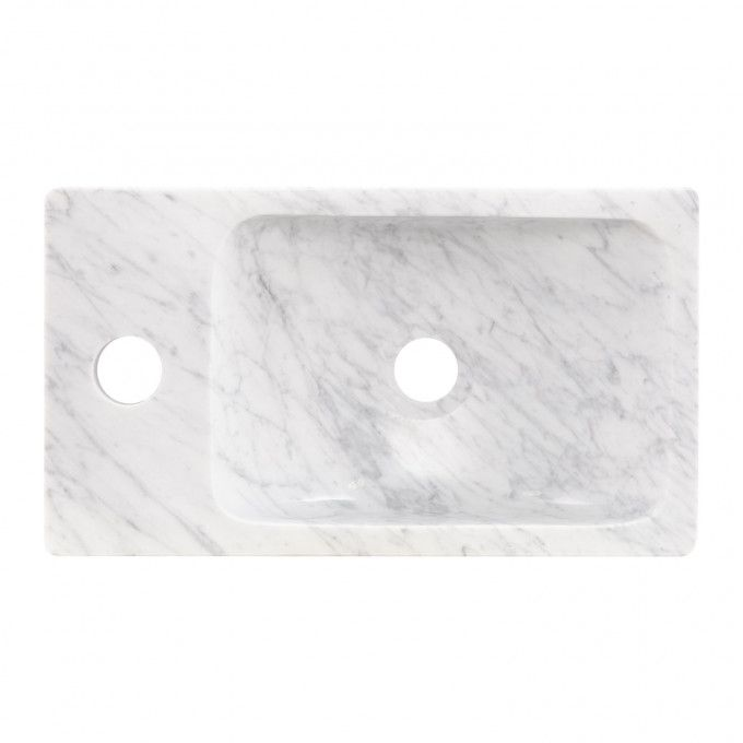 Rectangular Polished Marble Vessel Sink with Faucet Deck ...