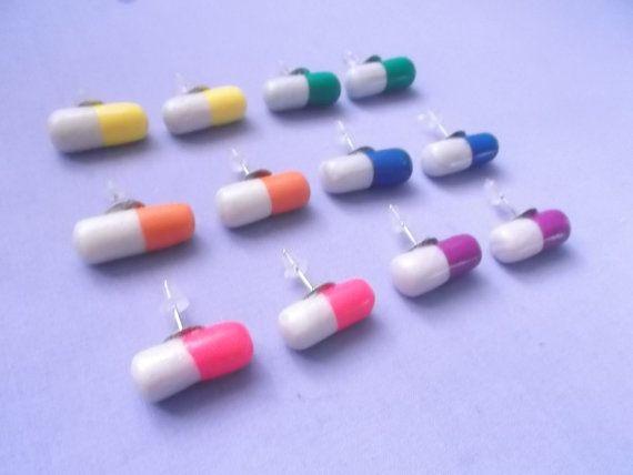 Pill+Earrings++Pastel+Goth+Earrings++Happy+by+MizziexoxoBoutique