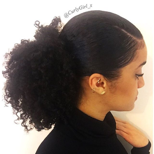 Side part low puff #CurlyGirl_x | Hair puff, Natural hair styles for black women, Curly hair ...