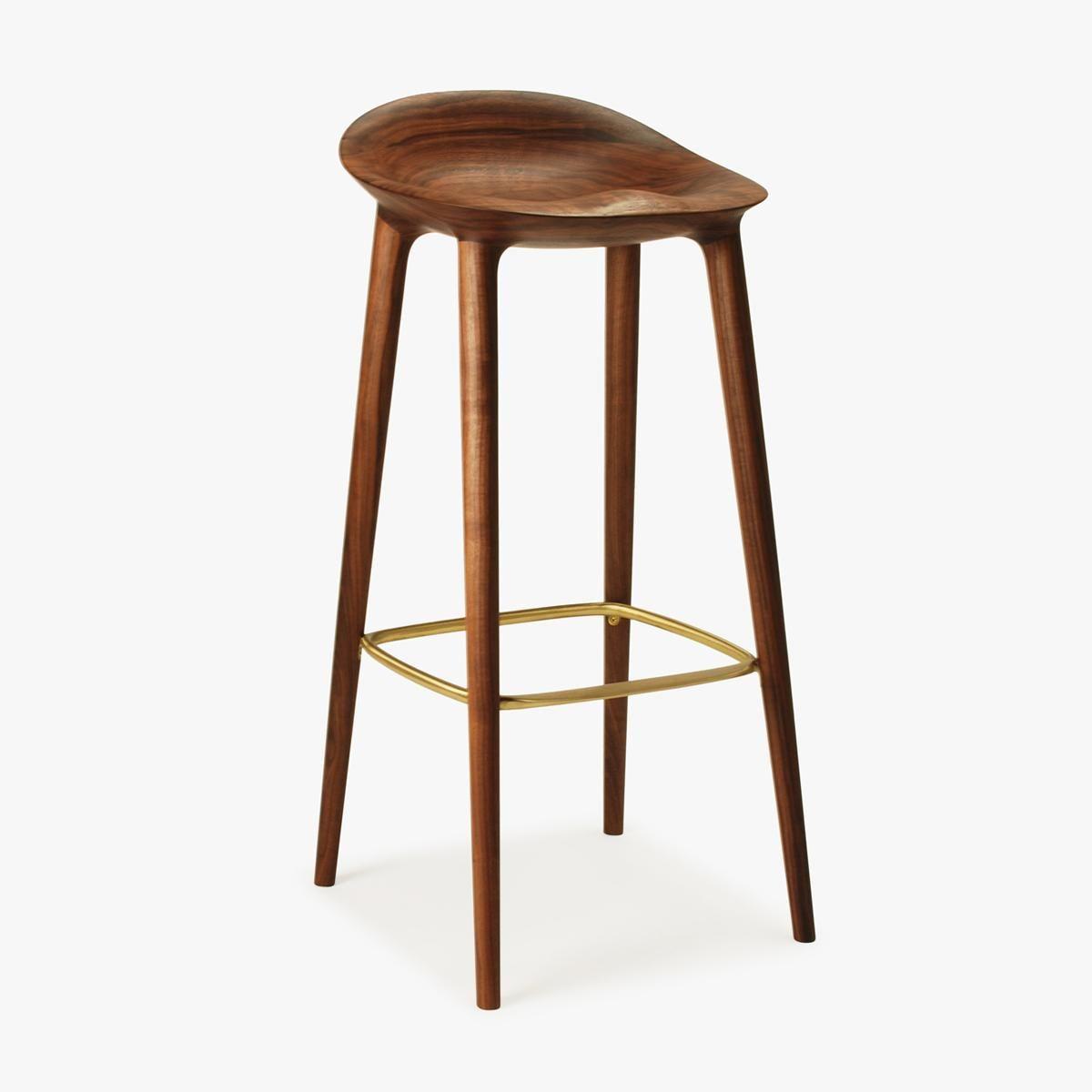 Bar stool walnut brass side 1