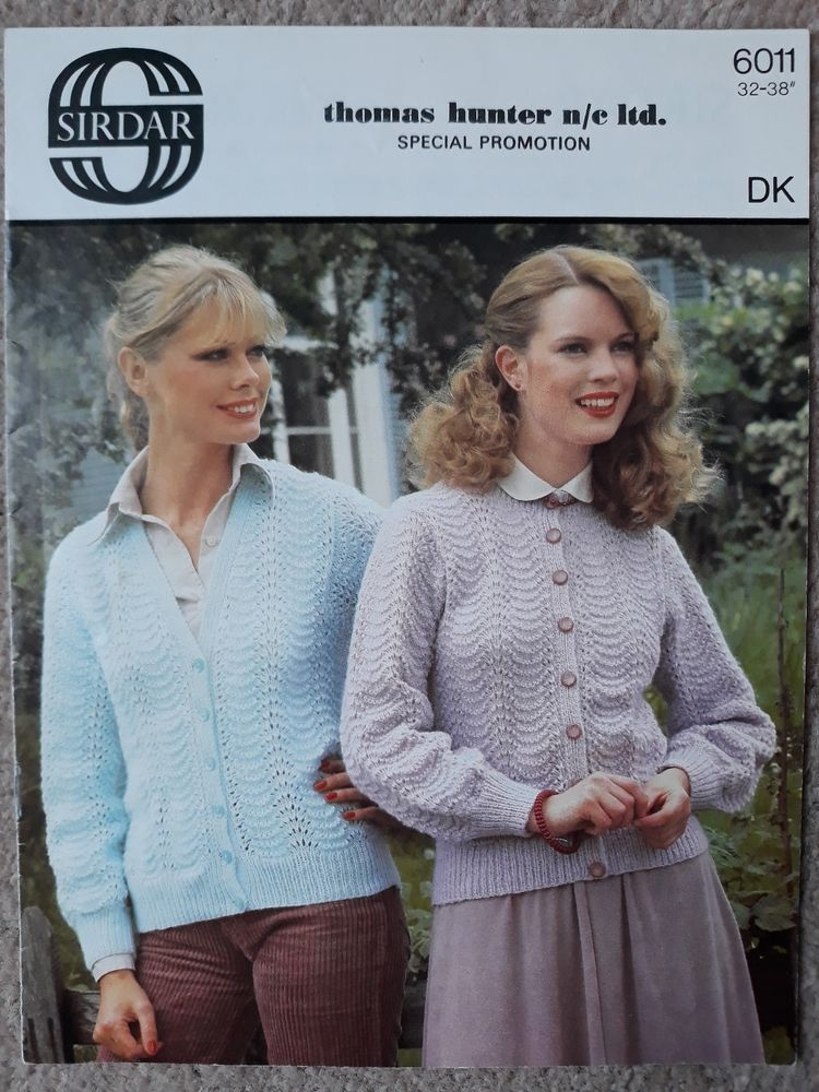 Vintage Retro Knitting Pattern Sirdar 6011 Ladies Dk Cardigans