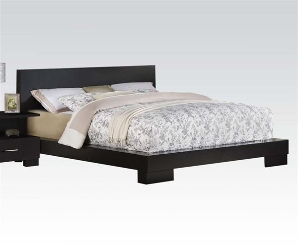 London Contemporary Black Wood Low Profile Queen Platform Bed