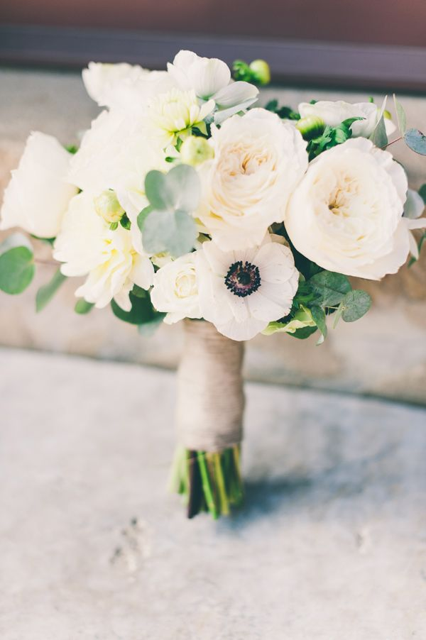 Tuscany Destination Wedding Anemone BouquetGarden Rose BouquetWhite