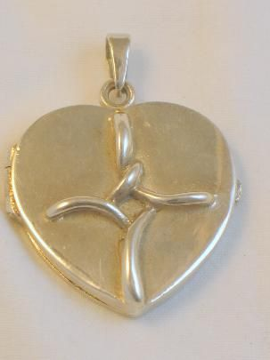 Sterling Silver Heart Locket with Cross Pendant