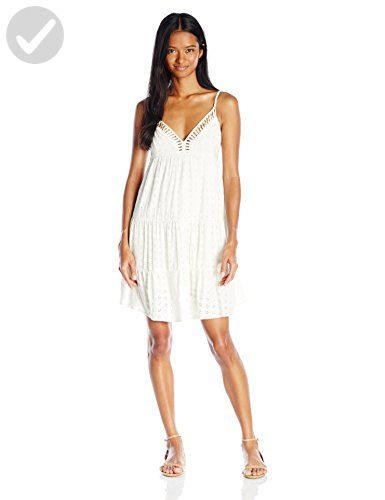 Angie Junior's Tiered Lattice Cut Sun Dress, White, Large - All about women (*Amazon Partner-Link)