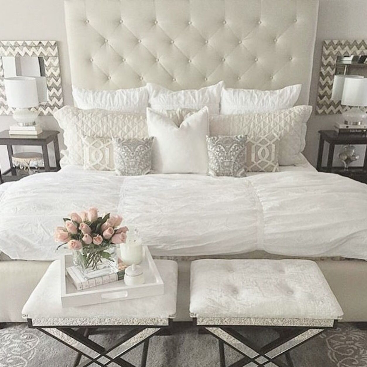 Neutral Glamorous Bedroom Home Pinterest Neutral