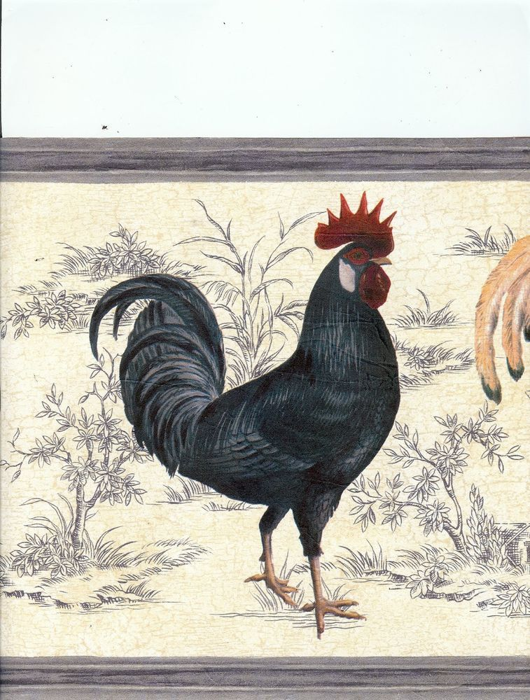 63296620 Rooster Country Blue Wallpaper Border