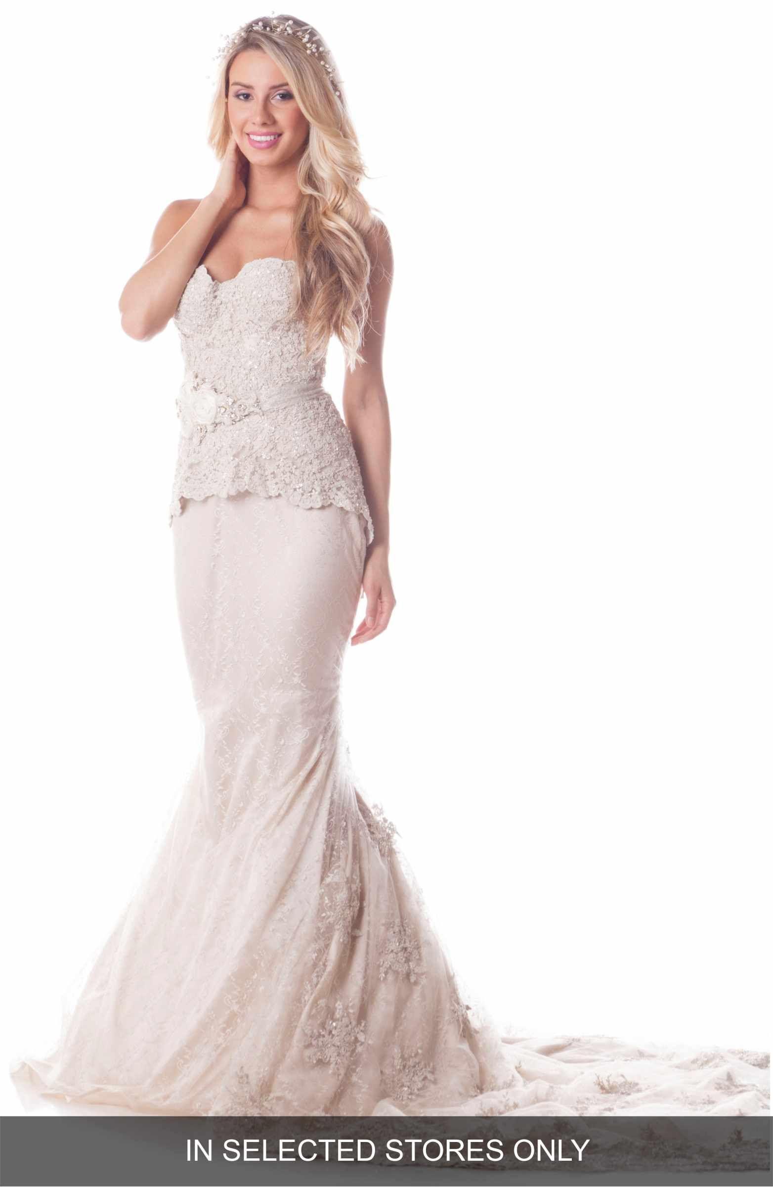 Silk sheath wedding dress  Main Image  Olia Zavozina Leah Strapless Embroidered Lace Silk Gown