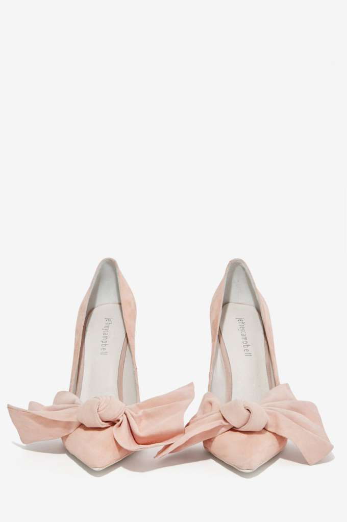 f48aae3961d Jeffrey Campbell Grandame Suede Bow Pump