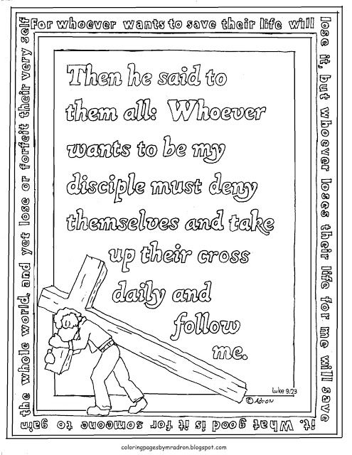 Printable Luke 9 23 Coloring Page With Take Up Their Cross