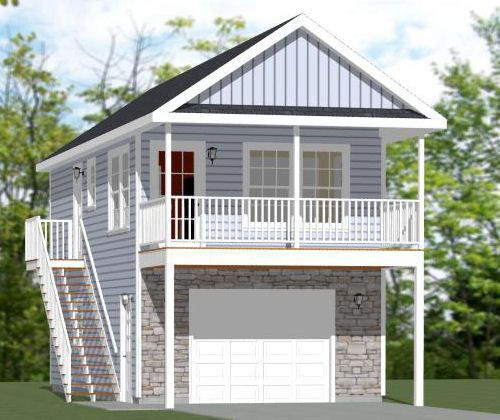 Garage Apartment With Shed Roof: 16x32 Tiny House -- 647 Sq Ft -- PDF Floor Plan -- Model 9